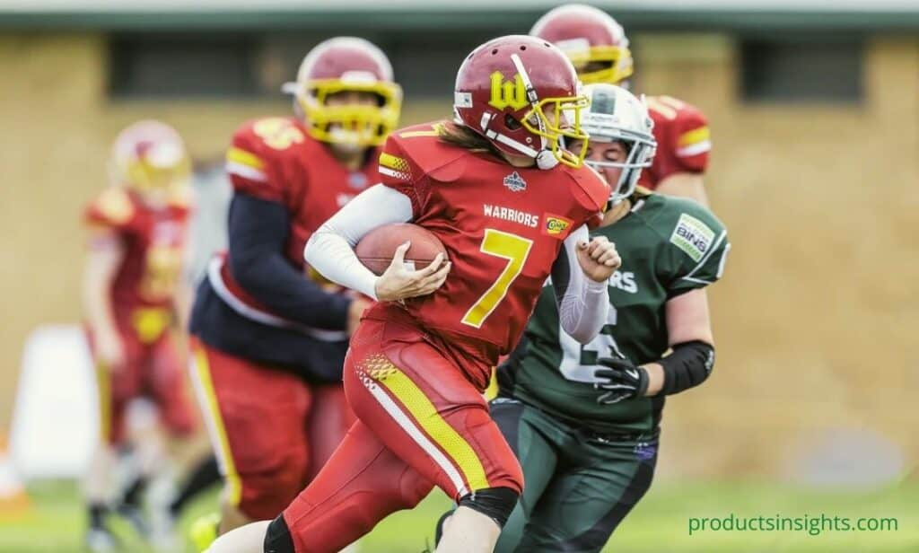 Running player with football
